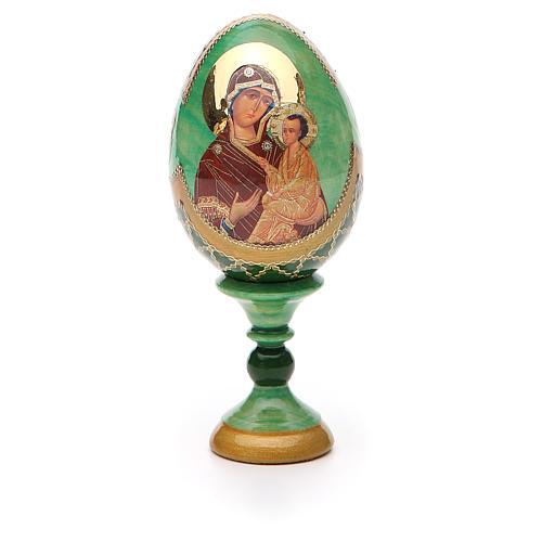 Uovo icona Russa Tikhvinskaya h tot. 13 cm stile Fabergé 5