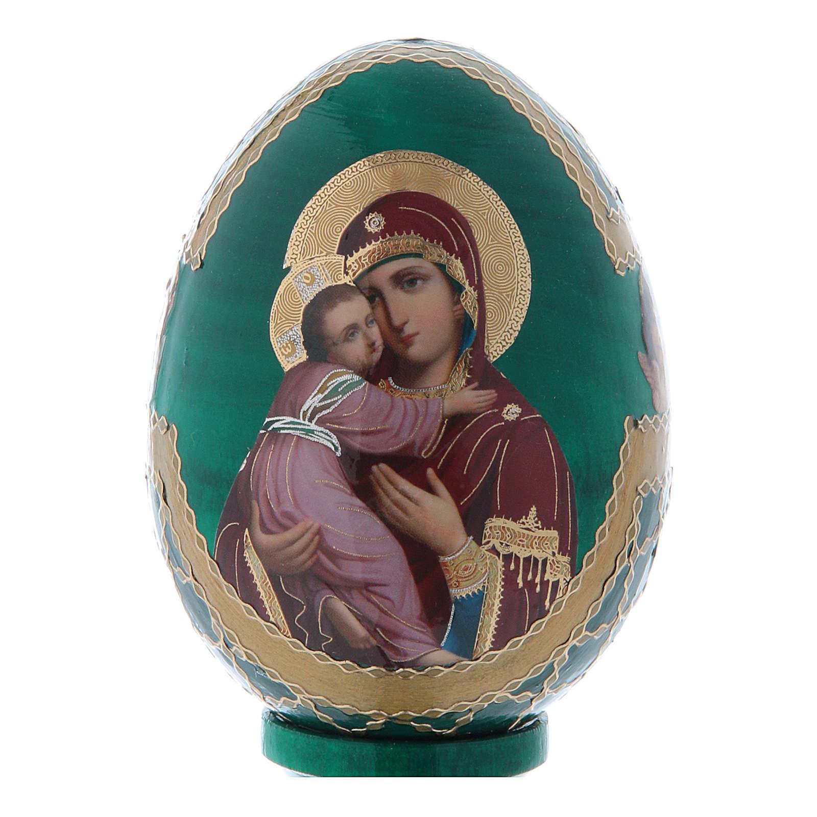 Uovo icona Russa Vladimirskaya h tot. 13 cm stile Fabergé 4