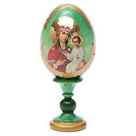 Uovo russo decoupage Smolenskaya h tot. 13 cm stile Fabergé s1