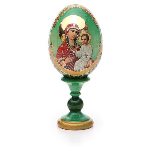 Uovo russo decoupage Smolenskaya h tot. 13 cm stile Fabergé 5