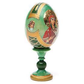 Russian Egg Smolenskaya Fabergè, green background 13cm s12
