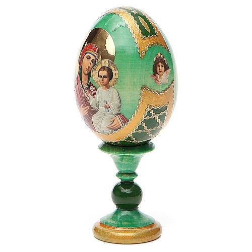 Russian Egg Smolenskaya Fabergè, green background 13cm 2