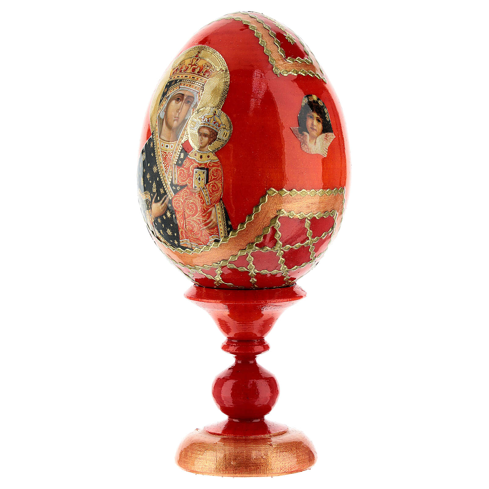 Uovo icona decoupage Russia Chenstohovskaya h tot. 13 cm stile Fabergé 4