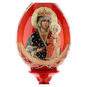 Uovo icona decoupage Russia Chenstohovskaya h tot. 13 cm stile Fabergé s2