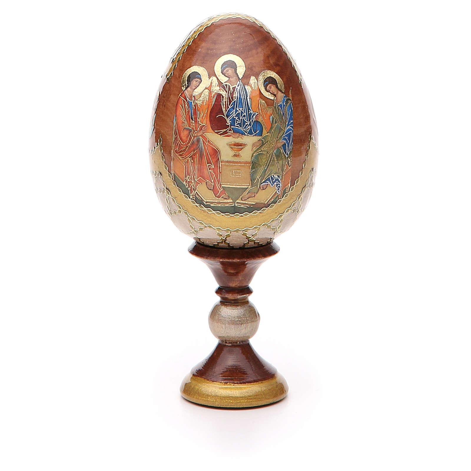 Uovo icona russa découpage Trinità Rublev h tot. 13 cm stile Fabergé 4
