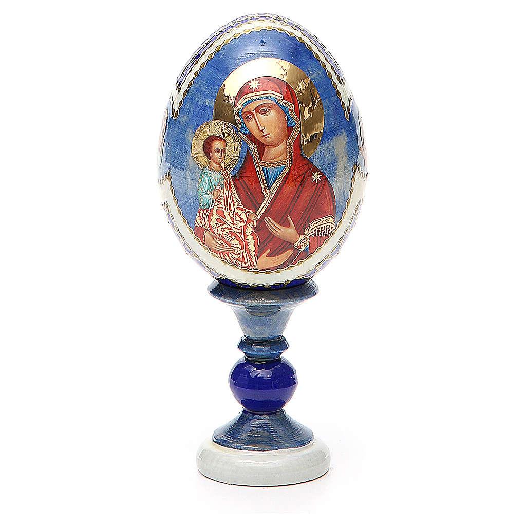 Uovo icona russa découpage Tre Mani h tot. 13 cm stile Fabergé 4