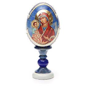 Uovo icona russa découpage Tre Mani h tot. 13 cm stile Fabergé s1