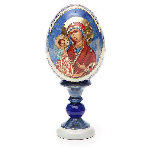 Uovo icona russa découpage Tre Mani h tot. 13 cm stile Fabergé 1