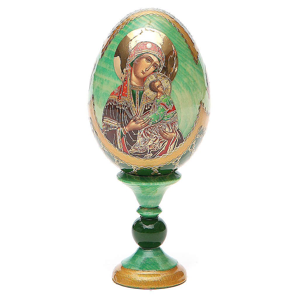 Huevo ruso de madera découpage Virgen de la Pasión altura total 13 cm estilo Fabergé 4