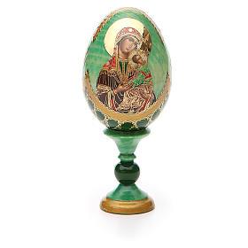 Huevo ruso de madera découpage Virgen de la Pasión altura total 13 cm estilo Fabergé s5