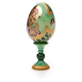 Huevo ruso de madera découpage Virgen de la Pasión altura total 13 cm estilo Fabergé s6