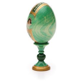 Huevo ruso de madera découpage Virgen de la Pasión altura total 13 cm estilo Fabergé s7