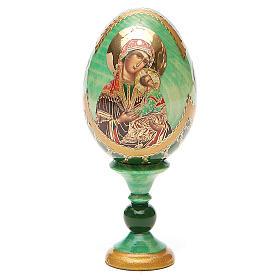 Huevo ruso de madera découpage Virgen de la Pasión altura total 13 cm estilo Fabergé s9
