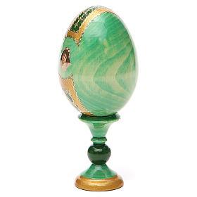 Huevo ruso de madera découpage Virgen de la Pasión altura total 13 cm estilo Fabergé s11