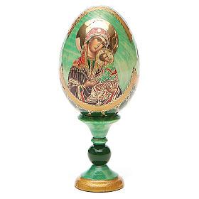 Huevo ruso de madera découpage Virgen de la Pasión altura total 13 cm estilo Fabergé s1