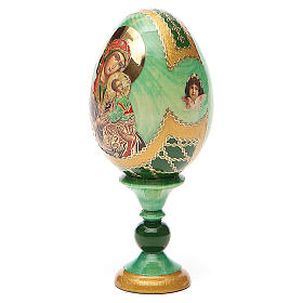 Huevo ruso de madera découpage Virgen de la Pasión altura total 13 cm estilo Fabergé s2