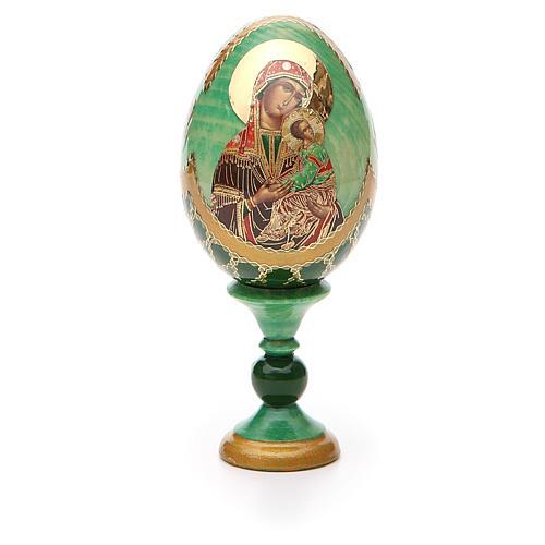 Huevo ruso de madera découpage Virgen de la Pasión altura total 13 cm estilo Fabergé 5