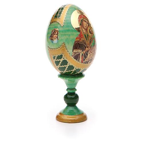 Huevo ruso de madera découpage Virgen de la Pasión altura total 13 cm estilo Fabergé 8