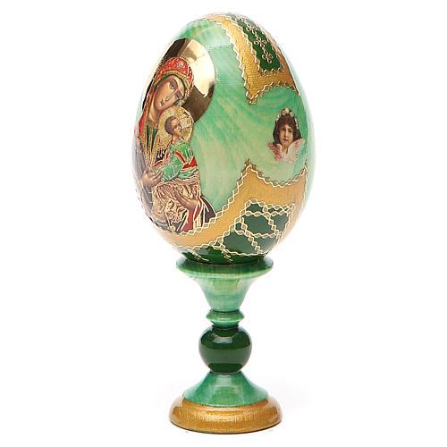 Huevo ruso de madera découpage Virgen de la Pasión altura total 13 cm estilo Fabergé 10