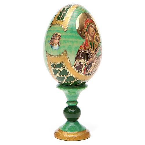 Huevo ruso de madera découpage Virgen de la Pasión altura total 13 cm estilo Fabergé 12