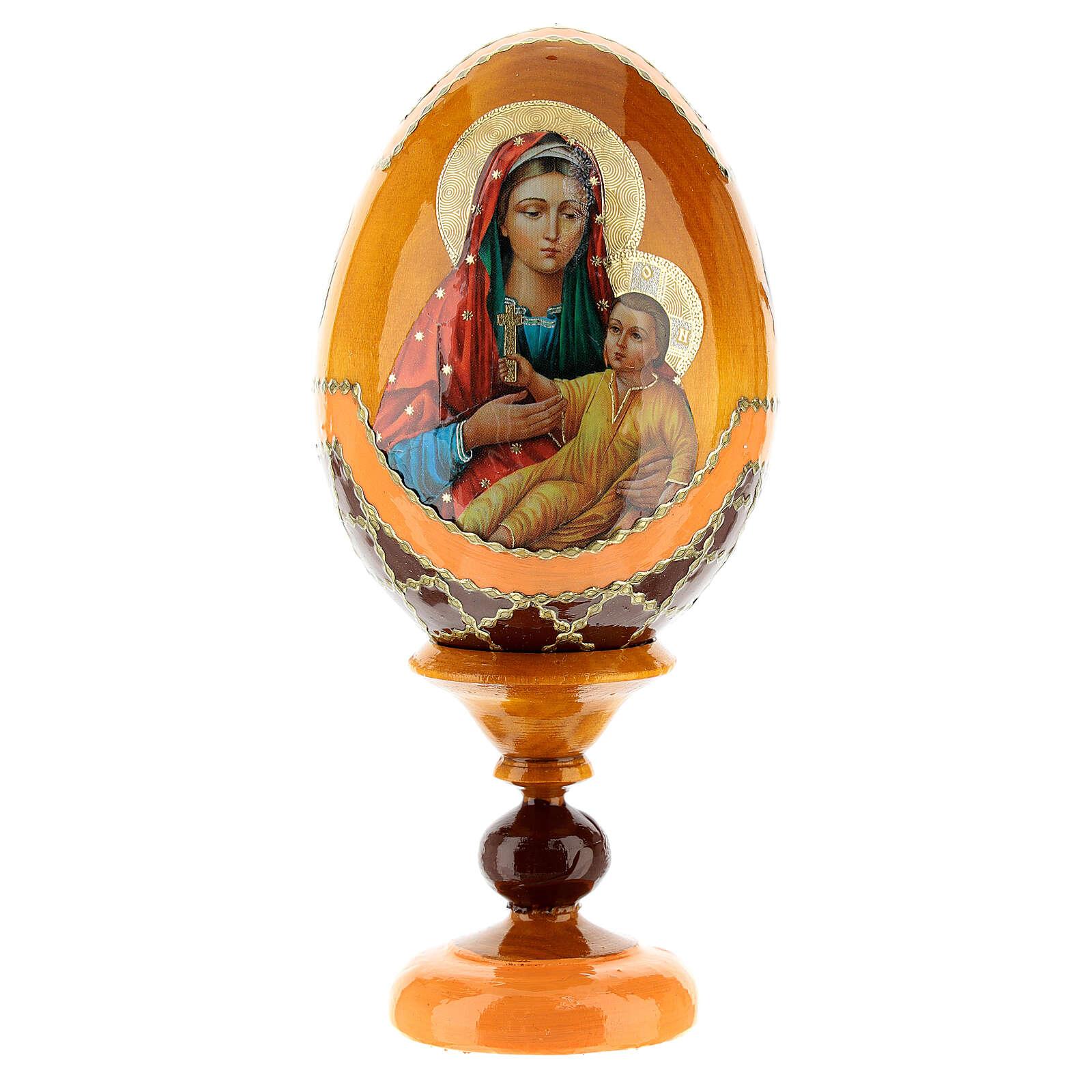 Uovo legno découpage Russia Kozelshanskaya h tot. 13 cm stile Fabergé 4