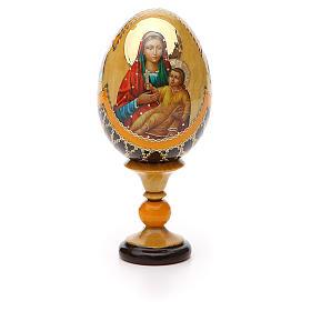 Uovo legno découpage Russia Kozelshanskaya h tot. 13 cm stile Fabergé s5