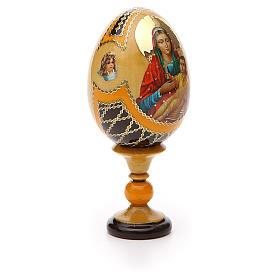 Uovo legno découpage Russia Kozelshanskaya h tot. 13 cm stile Fabergé s8