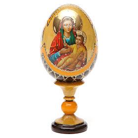 Uovo legno découpage Russia Kozelshanskaya h tot. 13 cm stile Fabergé s9