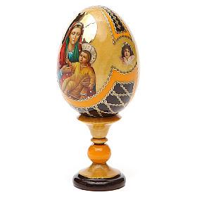 Uovo legno découpage Russia Kozelshanskaya h tot. 13 cm stile Fabergé s2