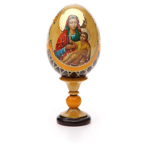 Uovo legno découpage Russia Kozelshanskaya h tot. 13 cm stile Fabergé 5