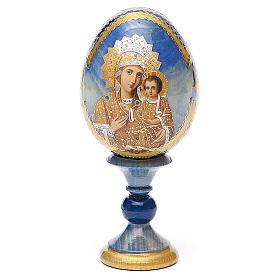 Oeuf bois découpage Russie Prémonitoire h 13 cm style Fabergé s1