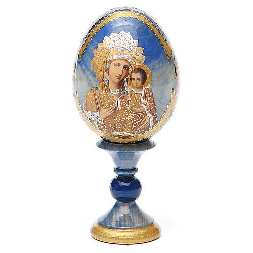 Oeuf bois découpage Russie Prémonitoire h 13 cm style Fabergé 1