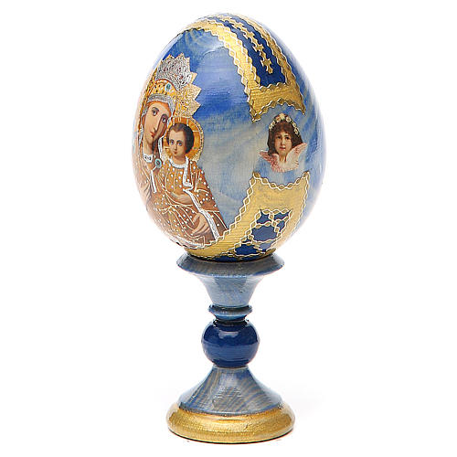 Oeuf bois découpage Russie Prémonitoire h 13 cm style Fabergé 2