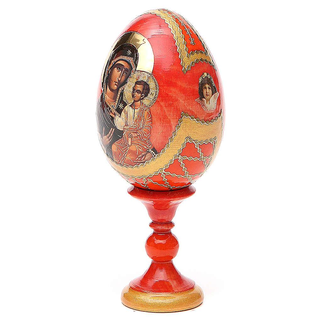 Oeuf bois découpage Russie Iverskaya h 13 cm style Fabergé 4