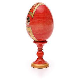 Oeuf bois découpage Russie Iverskaya h 13 cm style Fabergé s7