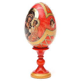 Oeuf bois découpage Russie Iverskaya h 13 cm style Fabergé s10