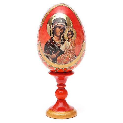 Oeuf bois découpage Russie Iverskaya h 13 cm style Fabergé 1