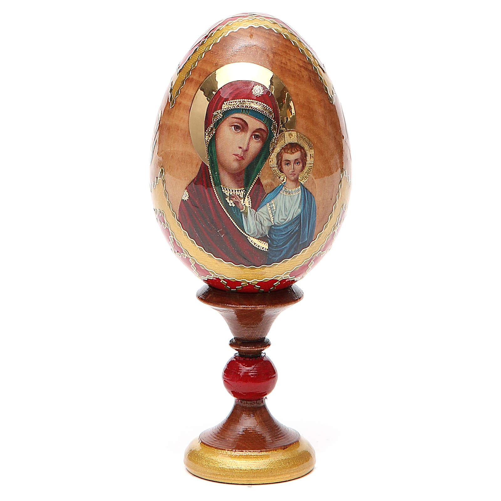 Huevo ruso de madera découpage Kazanskaya altura total 13 cm estilo Fabergé 4