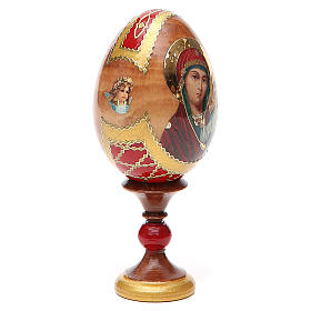 Huevo ruso de madera découpage Kazanskaya altura total 13 cm estilo Fabergé s12