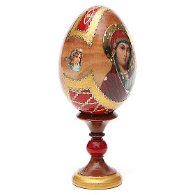 Huevo ruso de madera découpage Kazanskaya altura total 13 cm estilo Fabergé s4