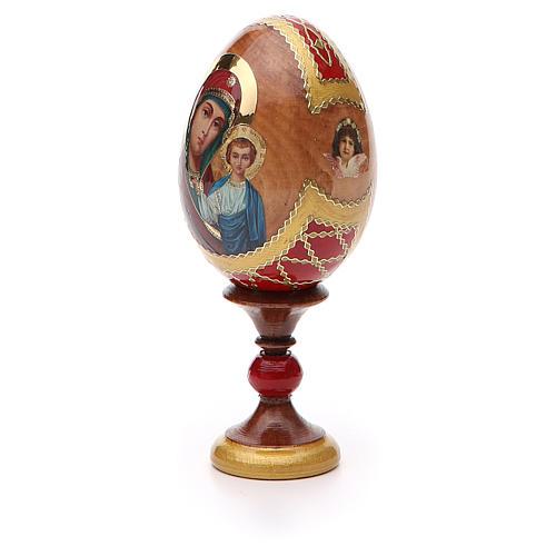 Huevo ruso de madera découpage Kazanskaya altura total 13 cm estilo Fabergé 6