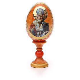 Uovo russo découpage San Nicola h tot. 13 cm stile Fabergé s5