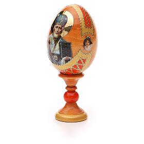 Uovo russo découpage San Nicola h tot. 13 cm stile Fabergé s6
