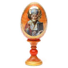 Uovo russo découpage San Nicola h tot. 13 cm stile Fabergé s9