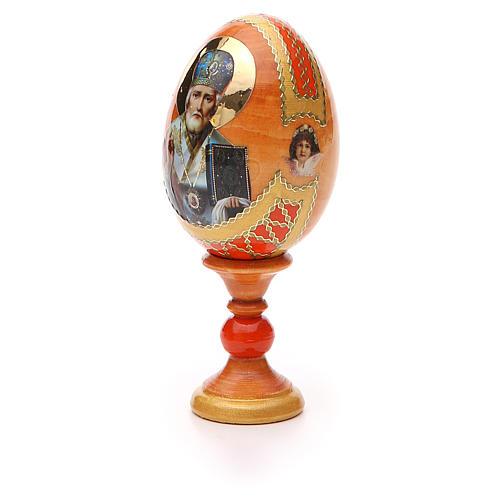 Uovo russo découpage San Nicola h tot. 13 cm stile Fabergé 6