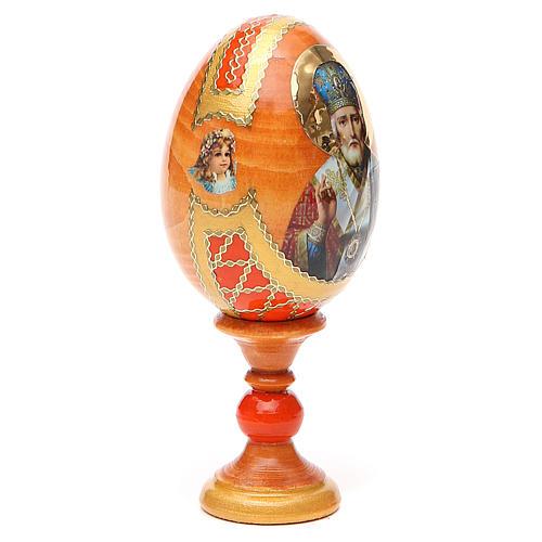 Uovo russo découpage San Nicola h tot. 13 cm stile Fabergé 12