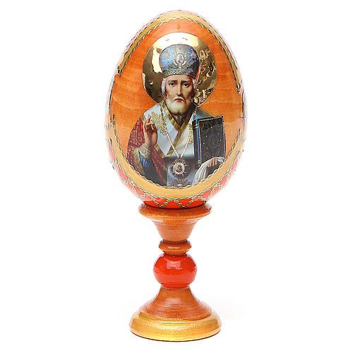 Uovo russo découpage San Nicola h tot. 13 cm stile Fabergé 1