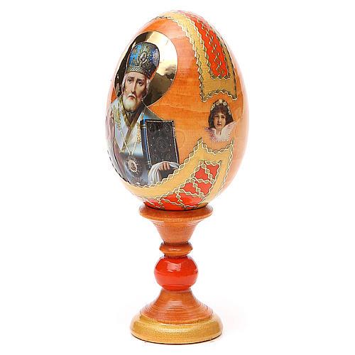 Uovo russo découpage San Nicola h tot. 13 cm stile Fabergé 2