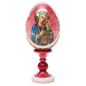 Uovo russo découpage Perpetuo Soccorso h tot. 13 cm stile Fabergé s1