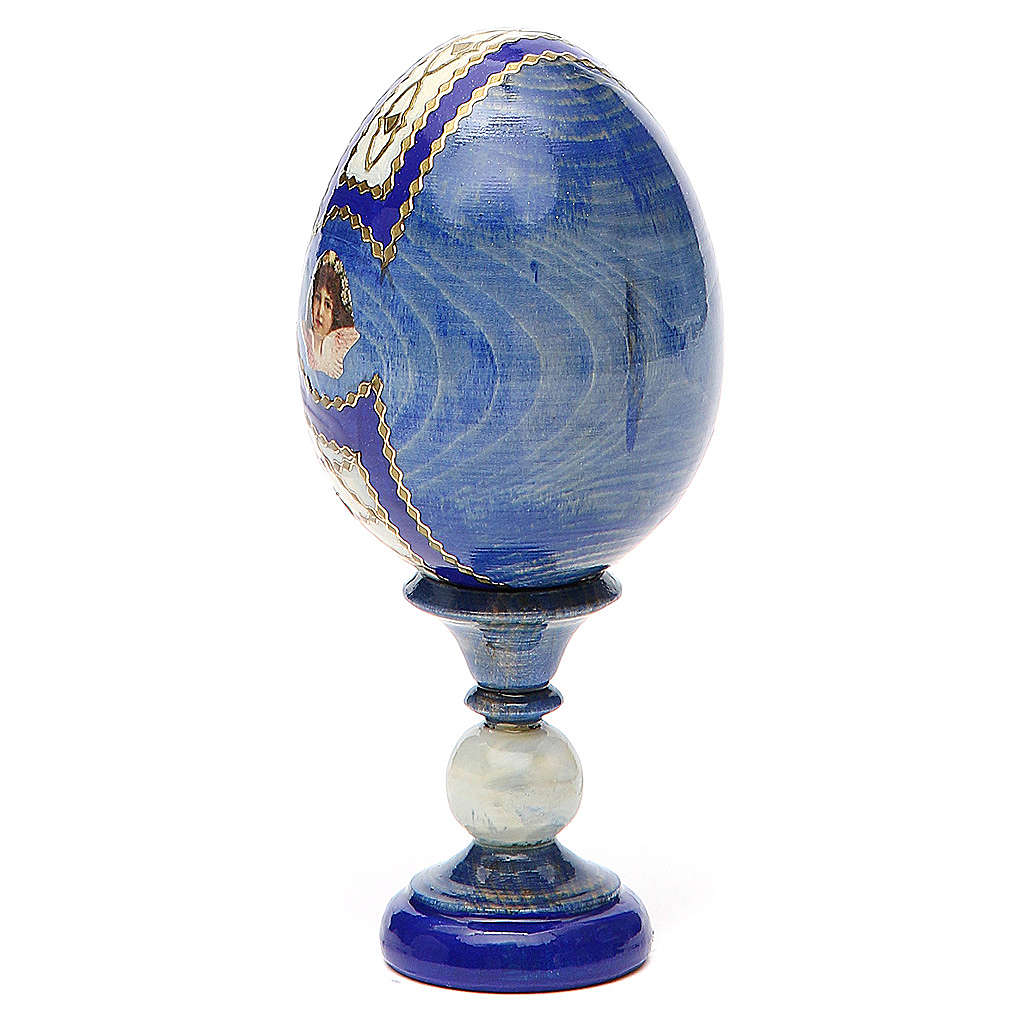 Huevo ruso de madera découpage Sagrada Familia altura total 13 cm estilo Fabergé 4
